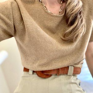 Vintage Tops - Vintage Boxy Golden Speckled Knit Tee Top
